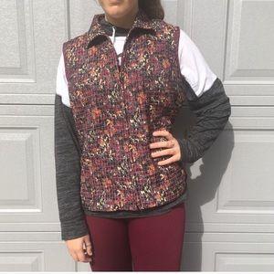 Christopher& Banks Floral Burgundy Reversible Vest